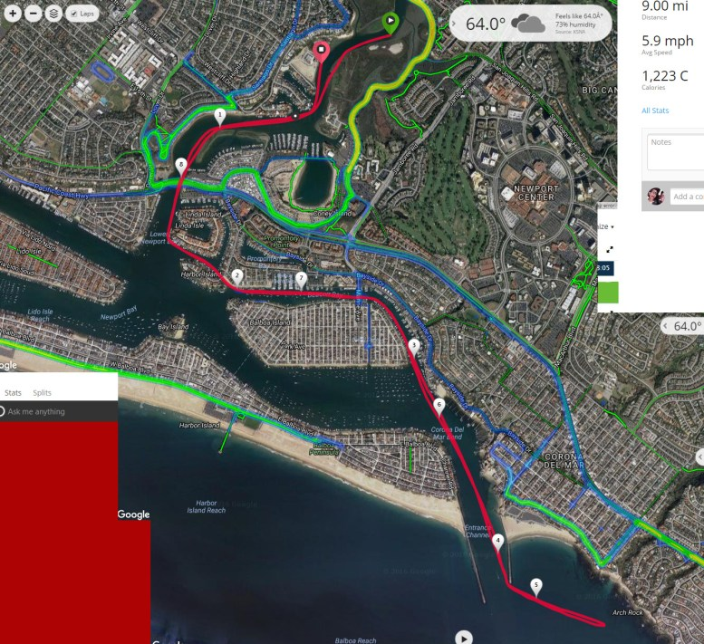 """Sam Couch Memorial race, """"Get off Da Couch"""" 2016. Course map of Garmin GPS data overlaid on Google Maps"""