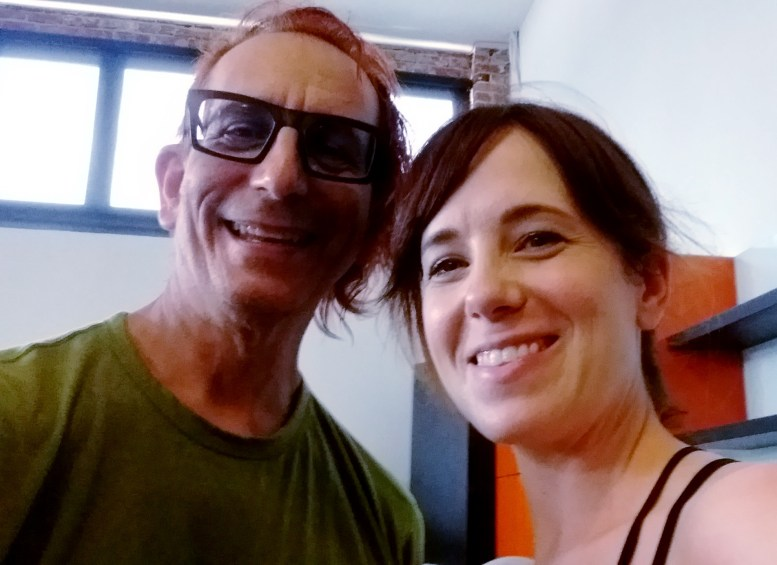 "out of shape old guy, aka ""Me"", Glenn Zucman, at Pop Physique, Silverlake, CA, 3501 W. Sunset Blvd, LA 26, with Pop Physique founder Jennifer Williams after taking a muscle trembling sweat inducing class with her. But I survived my first class, so yay!"