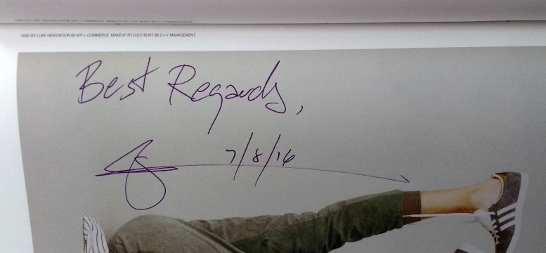 Glenn Zucman's signature, a photo of a hand-written signature on page 89 of Issue #44, Spring/Summer 2016, of Self Service magazine