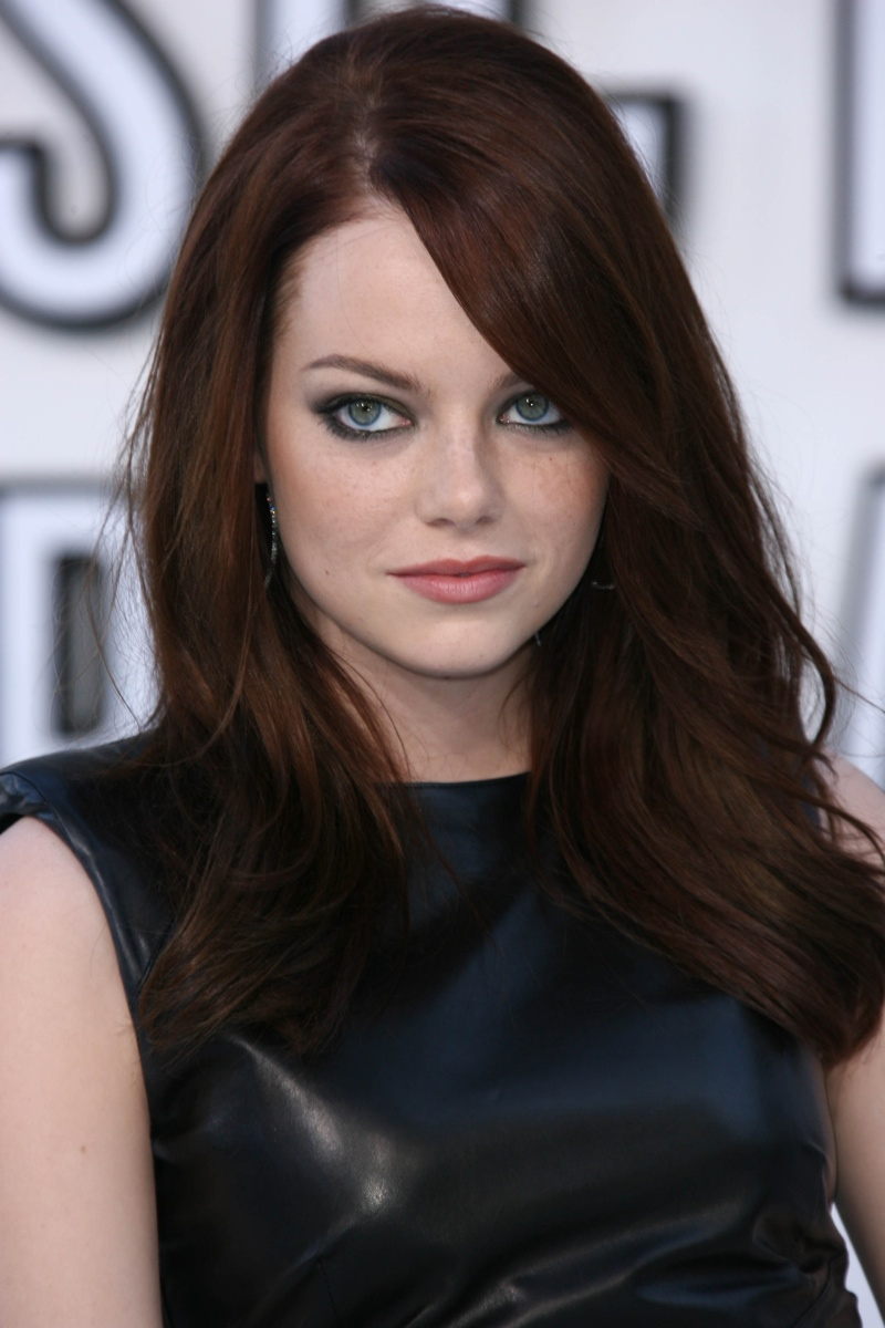 Emma Stone in dark hair