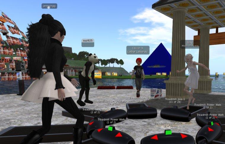 avatars walking on treadmills