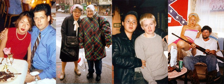 montage of 4 Nikki S. Lee projects: The Yuppie Project, The Seniors Project, The Lesbian Project, and The Ohio Project. In each project Nikki S. Lee becomes part of a subculture and photographs herself enmeshed in that community.