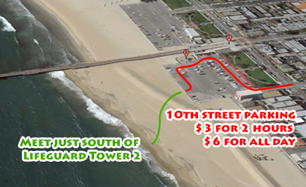 Aerial view of Seal Beach Pier with directions to parking and Life Guard Tower 2 where Art110 meets for Plaster Casting Activity