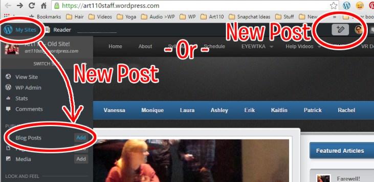 "screen cap of WordPress ""new post"" buttons"