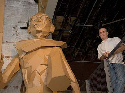 Joseph DeLappe with a cardboard sculpture of his Gandhi avatar