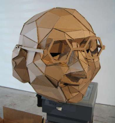 Gandhi's head made out of cardboard polygons