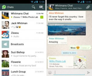 screen cap of WhatsApp app
