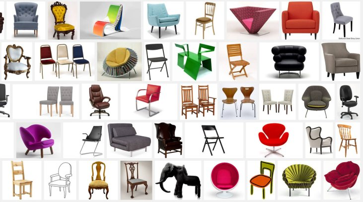 "Screen cap of the results of a Google Image Search for the word ""Chair"" -- shows a couple different chair styles from classical to avant garde"