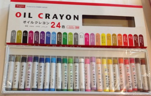 a box of 24 oil crayons from Japanese super-discount store Daiso!