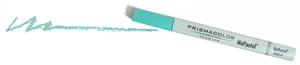 Image of a Prismacolor Nupastel stick and a sample line