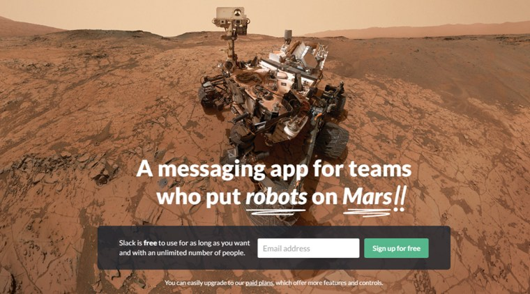 ScreenCap of Slack.com featuring an image of a Mars Rover.