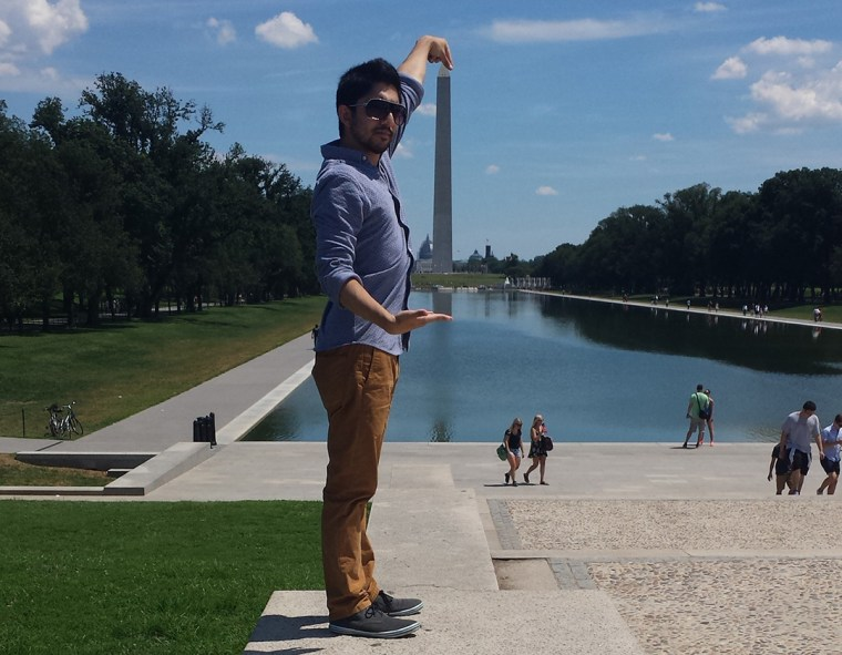 "Zeeshan Dadabhoy playing a perspective game in Washington DC, ""holding"" the Washington Monument in his hands."