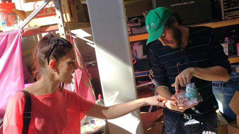 Eleonora Prudenzi and Maccabee Shelley at the CSULB School of Art, Ceramics Program, Graduate Studios, looking at recent work by Maccabee