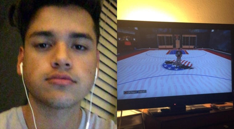 Diptych of Mark Flores broadcasting himself on Periscope and also his avatar in a video game