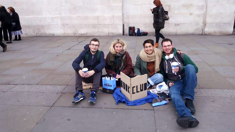 "Marta Troya performing ""Wandering Book Club"" in the streets of London"