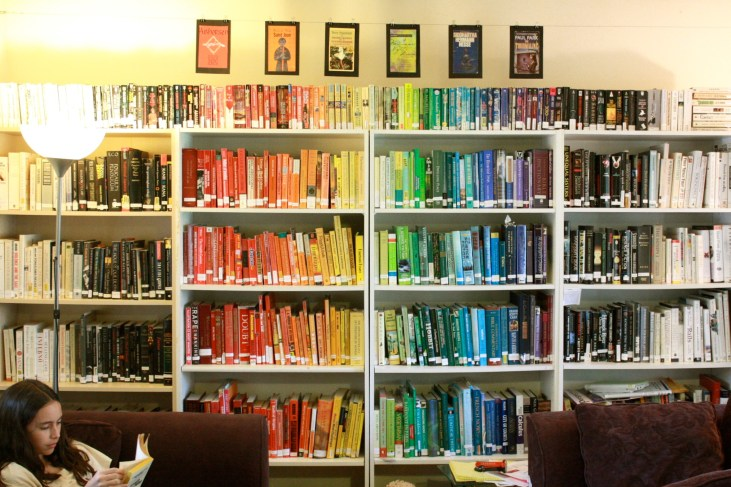 a personal library with the books arranged by the colors of the spines