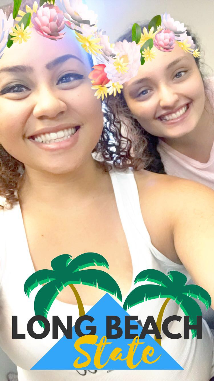 """Hailei Reyes & Valeria Gonzalez in a Snapchat """"Long Beach State"""" selfe in room FA4-311 at CSULB"""