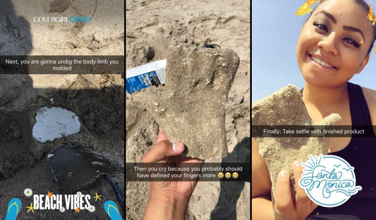 series of Snapchat frames showing Hailei Reyes making a plaster casting of her hand at Santa Monica beach