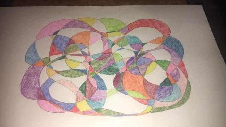 automatic drawing by Jacqueline Sanchez. Pastel on paper.