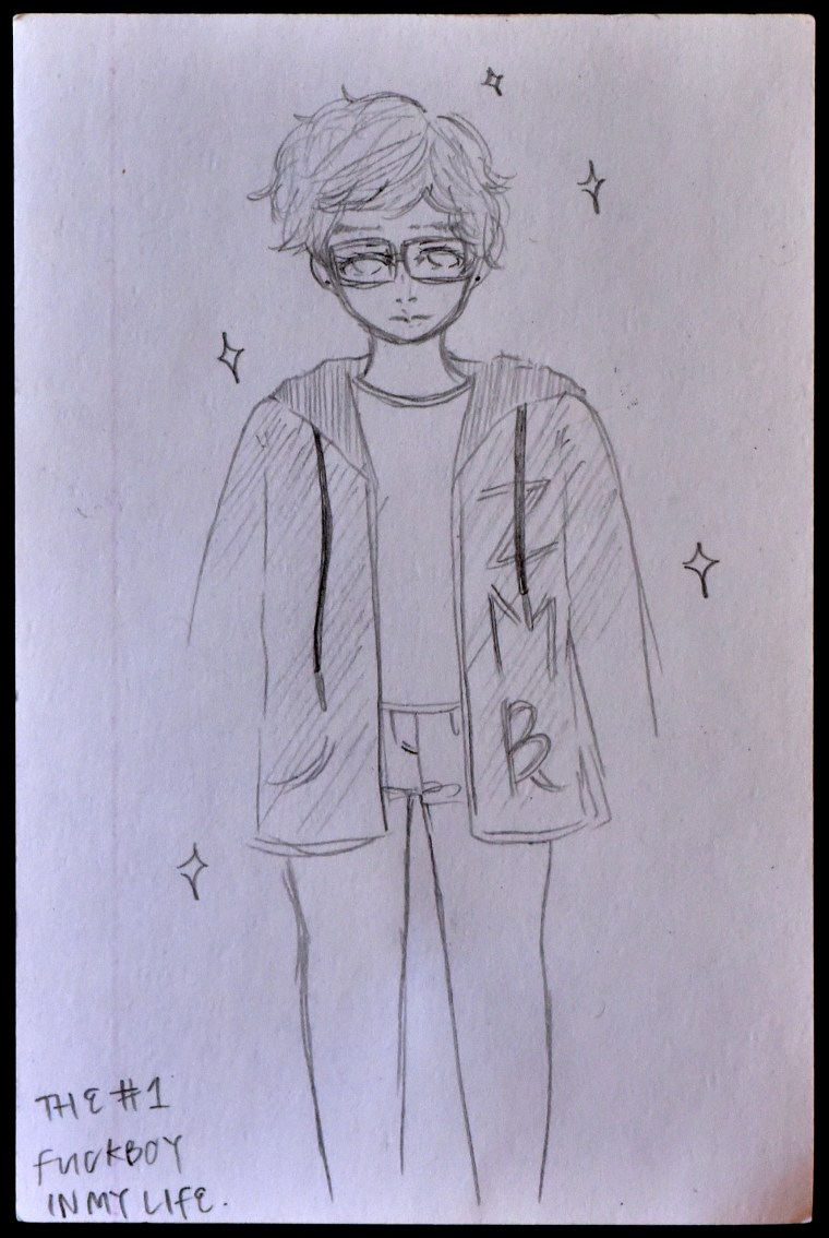 pencil drawing of a student ID card