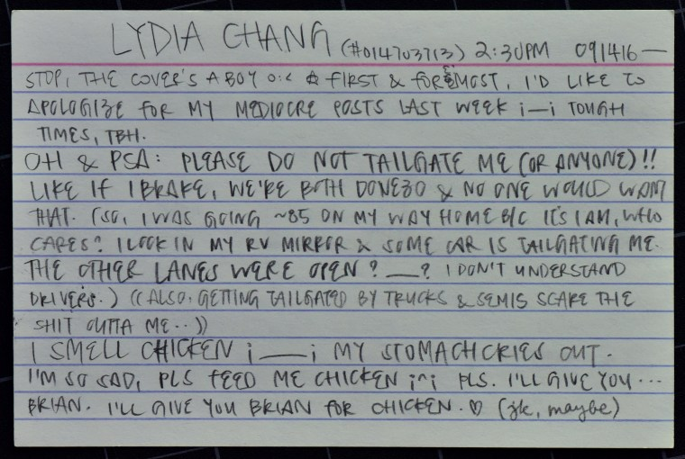 "Lydia Chang's 1-page zine ""ID card"" featuring an illustration and text on a 4x6"" index card"