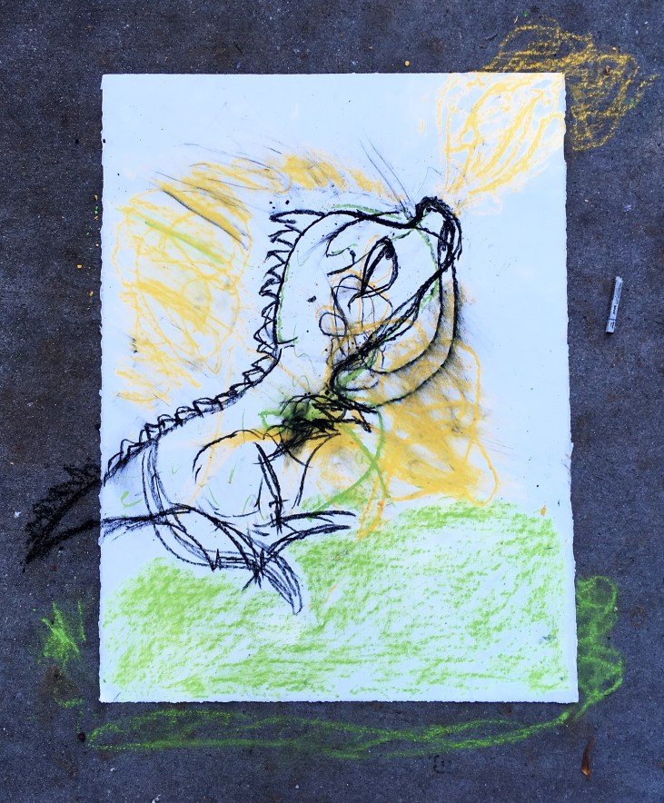 pastel drawing on paper in yellow, green & black