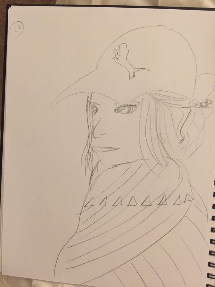 quick sketch of a woman in a puma hat