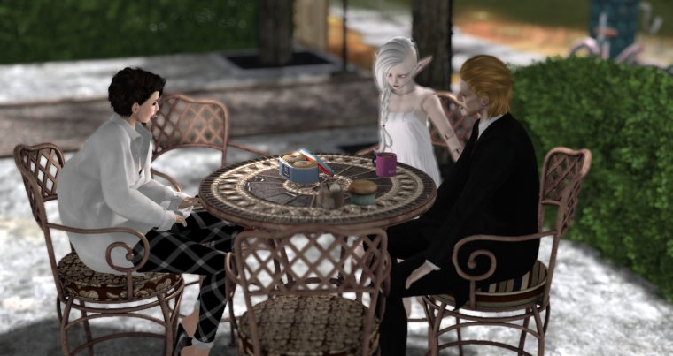 avatars around a table at a virtual coffee shop