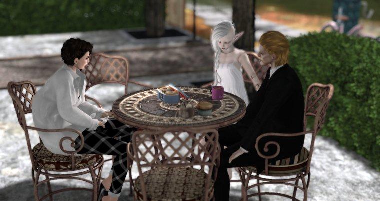 avatars around a table at a virtual coffee shop