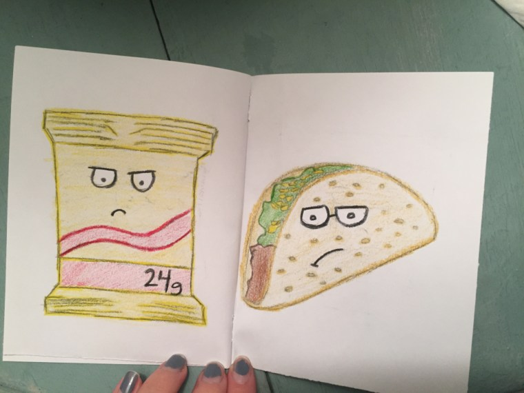 zine featuring illustrations of food with angry faces on them