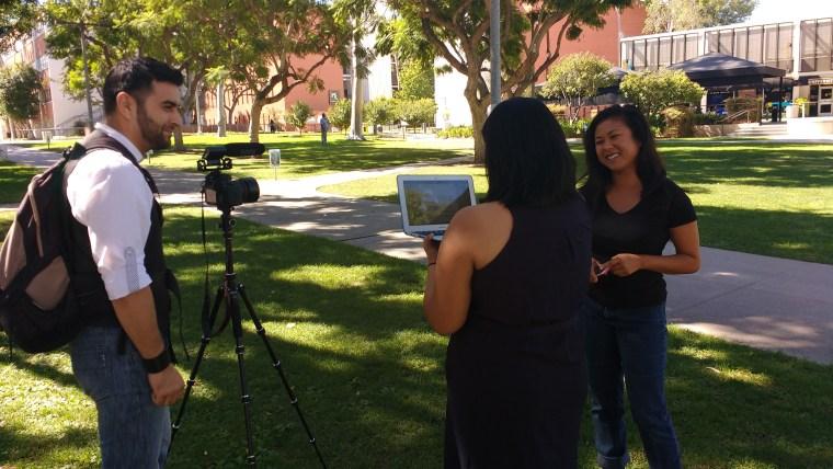 "Raúl de Paz, Lata Pandya & Phatana Ith on the grass at ""Friendship Walk"" at CSU Long Beach"