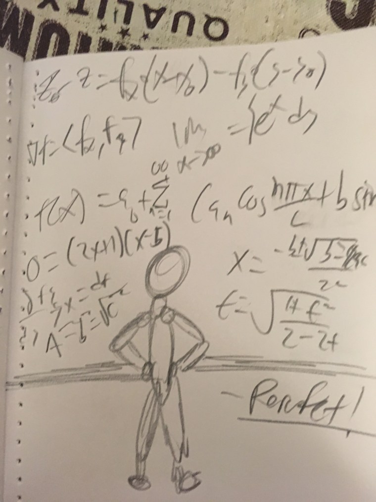 zine with pencil illustration of a figure working out equations on a white board