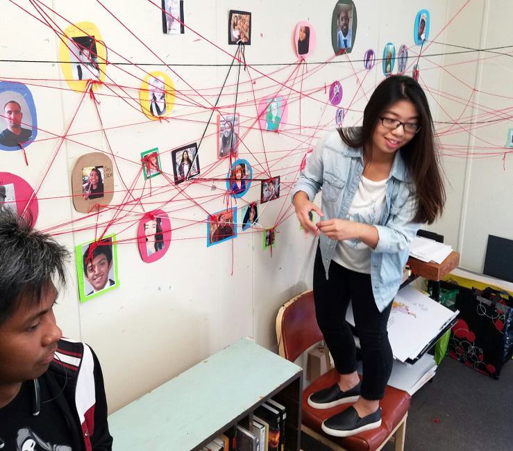 students in CSULB FO4-267 (Faculty Office Building No 4, Room 267) working on a Fiber Art Social Network graph on the walls of the office