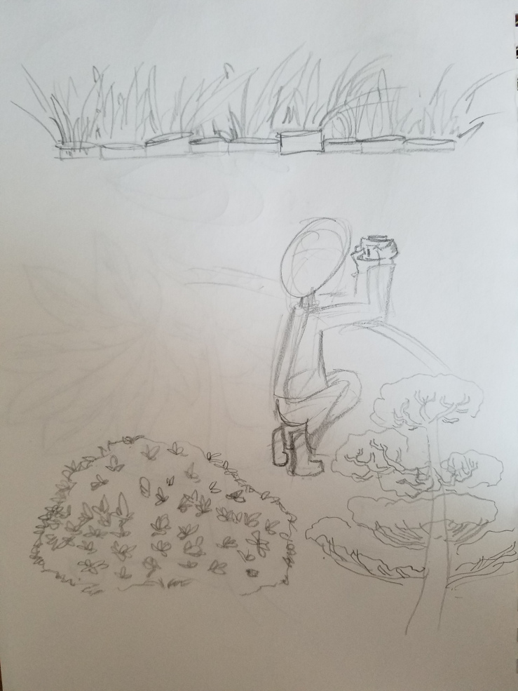 pencil sketch of the pond and plants at the CSULB Japanese Garden
