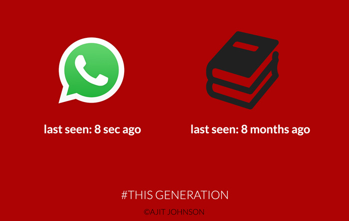 """illustration with a WhatsApp icon and a Book icon. Under the WhatsApp icon is the caption """"last seen 8 seconds ago"""" and underneath the book icon is the caption """"last seen 8 months ago"""""""