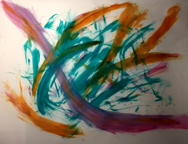 acrylic finger painting on Rives BFK paper by Marcelo Ceballos