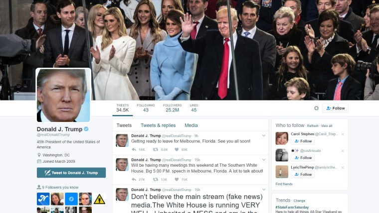 screen cap of Donald Trump's twitter home page