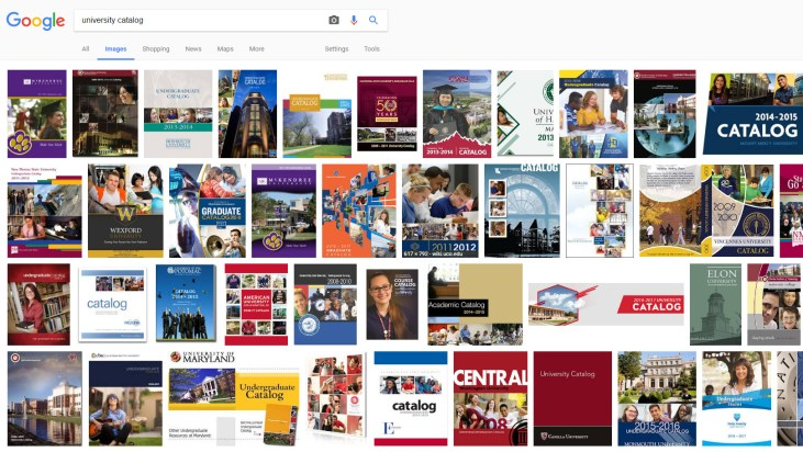 "results of a Google Image Search for the words ""University Catalog"""