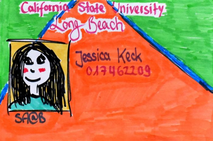 Jessica Keck's colored marker drawing of her CSULB ID Card