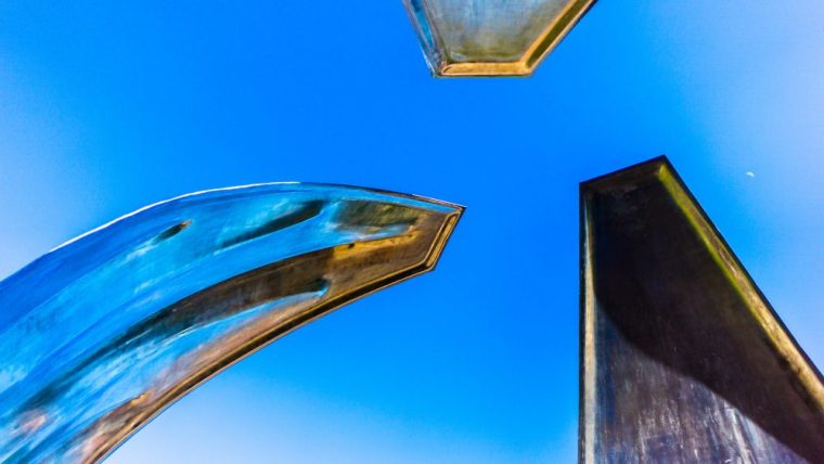 """detail of Piotr Kowalski's 1965 stainless stell & dynamite sculpture """"NOW"""""""