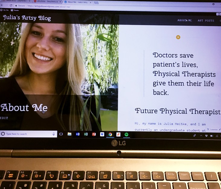 Julia Heitke's website as displayed on a laptop computer