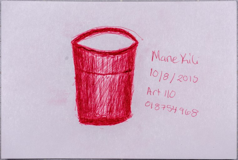 """drawing of a """"Red Solo Cup"""" in red ballpoint pen"""