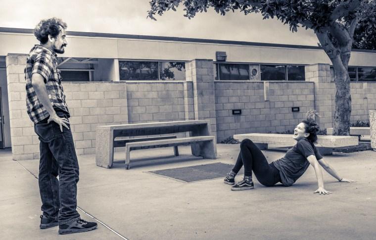 Alvaro & Kaelie try dance moves in the School of Art's Gallery Courtyard