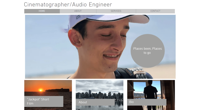 screen capture of cinematographer & audio engineer Conner Wileman's home page