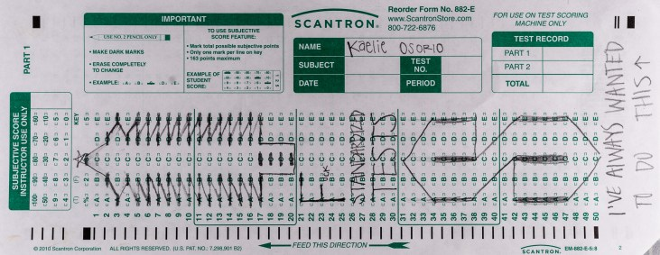 "dancer Kaelie Osorio's scantron midterm. On a Scantron 882-E form Osorio draws a tree and a large, ""S"" and then writes at the bottom, ""I've always wanted to do this"""