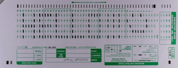 """Long Beach State University, College of the Arts, School of Art, Introduction to the Visual Arts. Student artist Katelyn Tran's Scantron midterm featuring the word """"Hello"""" as bubbled in with the Scantron grid on an 882-E form"""