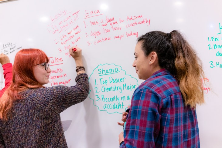 Erica Lander & Lesly Carrillo writing on the white board in room Psychology-150 at Long Beach State University