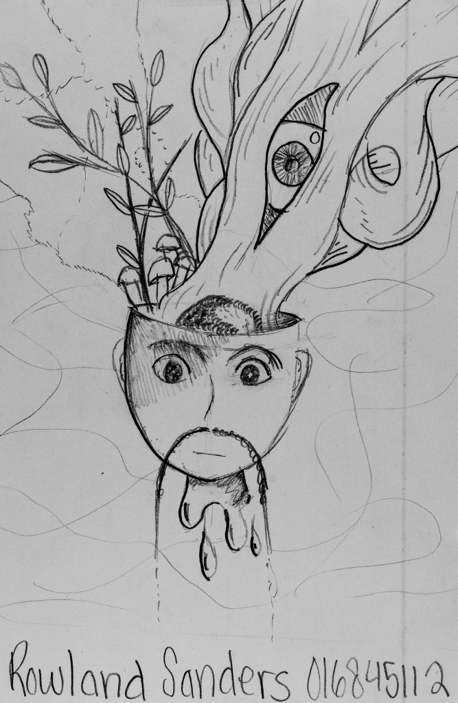 Pencil sketch of Art 110 sage Herbert featuring tree branches blossoming out of his head
