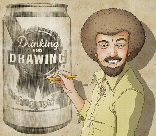 """Illustration of a """"Bob Ross"""" looking character drawing a can of beer that has a label on it that reads """"Drinking and Drawing"""""""