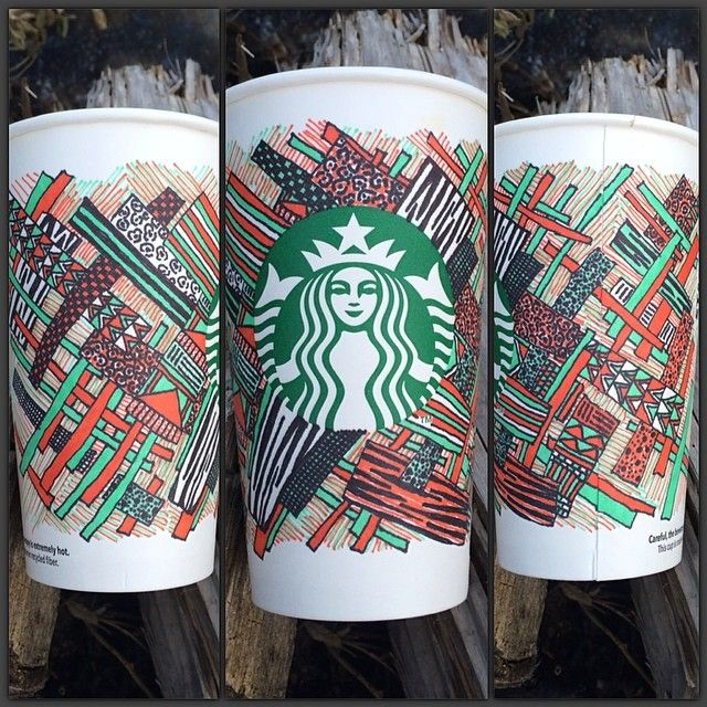 an illustration of textured grids that spans across 3 Starbucks cups
